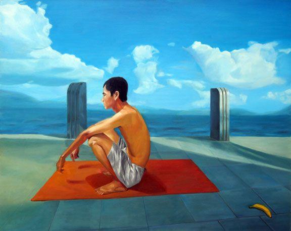 Sitting beside the sea, oil on canvas, 2008, 120x150cm