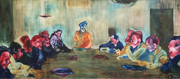 Phía sau tri thức 1, sơn dầu, 350 x 160