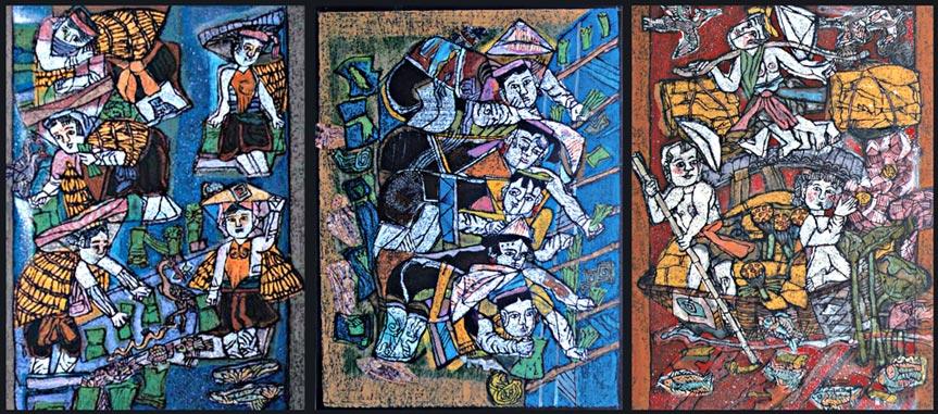 Lê Mai Khanh (Mai Anh), bộ tranh: nhổ mạ - cấy lúa – thu hoạch, 45 x 60 cm, in tổng hợp