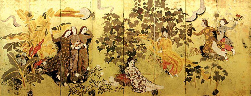 Nguyễn Gia Trí, thiếu nữ trong vườn,160 x 400 cm, sơn mài
