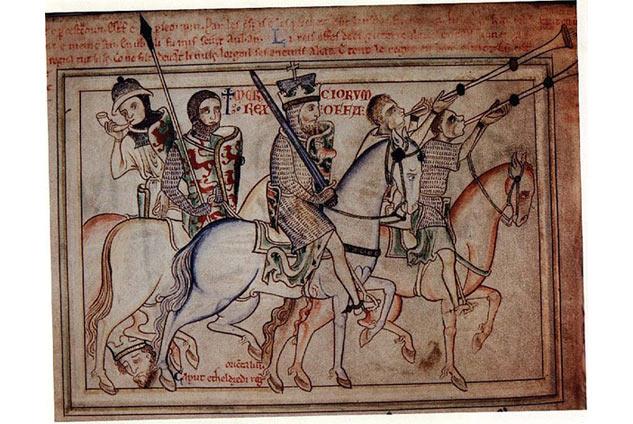 """Tranh tường """"Vua Offa cưỡi ngựa"""" ở nhà thờ St Alban. Chẳng biết ông con Egfrith có phải là người cưỡi ngựa cạnh Offa không, Egfrith lên ngôi có 5 tháng, tìm mãi mà chẳng thấy bức tranh nào vẽ mặt Egfrith cả."""