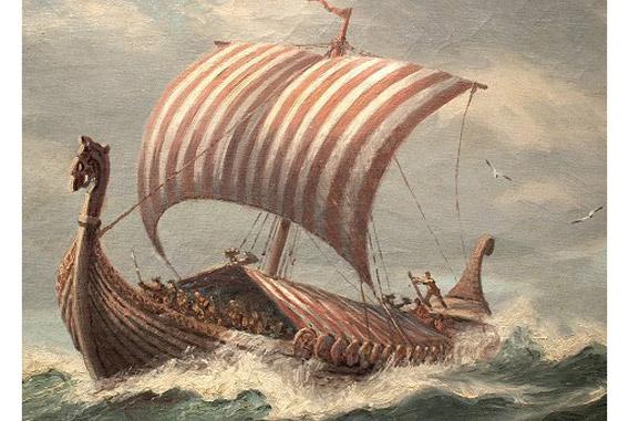 """Tác phẩm """"Thuyền Vikings"""", Adolf Bock vẽ vào đầu thế kỷ 20th."""