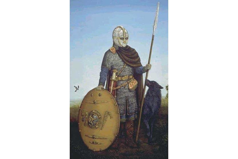Tác phẩm vẽ một người lính của Anh thời thế kỷ thứ 7, không biết ai vẽ và vẽ năm nào. Trong thời chấm mút thì các ông vua chẳng có gì nổi trội, mỗi ông cầm quyền trong thời gian ngắn nên tranh tượng về các ông rất hiếm, mọi người ngắm hình lính tráng thời này vậy. Bạn nào có thêm thông tin của bức tranh này thì bổ sung dùm mình nhé.