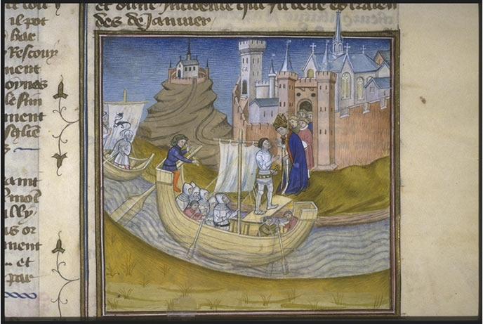 Tranh minh họa trong một cuốn sách cổ , vẽ cảnh dân Vikings đổ bộ đến Normandy