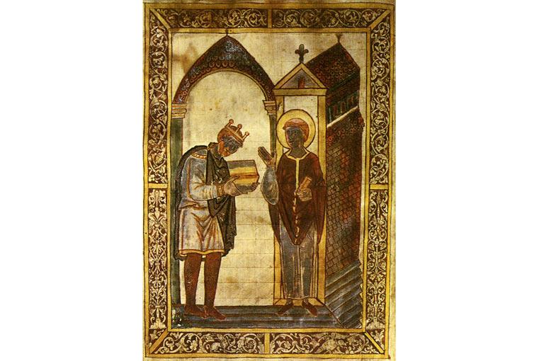 Vua Athelstan (trái, đội vương miện) tặng sách cho Thánh Cuthbert. Tặng đây là tặng theo nghĩa bóng, vì Cuthbert lúc này đã qua đời. Đây là hình minh hoạ cho một cuốn sách sử của ông Bede (ông Bede mất trước khi có vua Athelstan, nhưng sống sau thời của Thánh Cuthbert nên có viết về Cuthbert. Đám hậu duệ  khi in lại sách của Bede thì vẽ chêm vua Athelstan vào để minh hoạ, rắc rối nhỉ?)