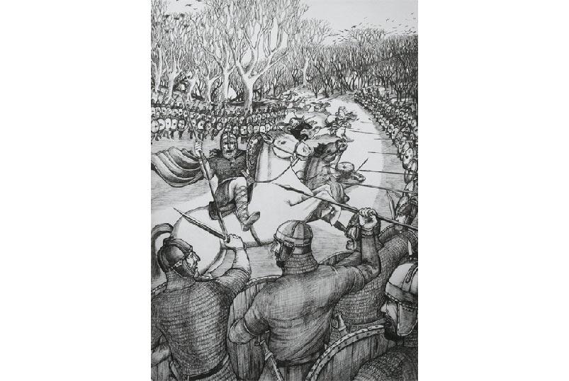 """Hình vẽ minh hoạ (nhưng không biết ai vẽ và vẽ năm mô? Bạn nào biết thì xin bổ xung dùm mình nhé) cho trận đánh giữa Athelstan với các vị vua Scot và Ireland. Người đời sau này đặt tên cho trận đánh lịch sử ấy là """"Trận Brunanburh"""" (tiếng Anglo cổ, đọc muốn trẹo miệng)"""