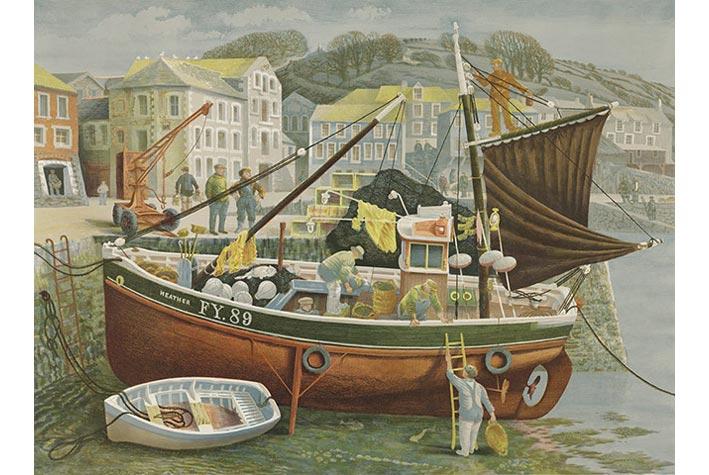 """""""Cornish Pilchard Boat"""" (Tàu đánh cá sac-đin), David Gentleman, 1953"""