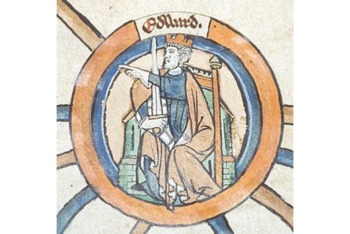 """Tranh chân dung vẽ tường của Edward I, thế kỷ 13. Ở trong hình có chữ """"Edward"""" bằng tiếng Anglo cũ, nhìn rất loằng ngoằng. Đúng ra thì Edward cũng phải đánh nhau một tý mới chắc chắn giành được ngai vàng mà vua cha truyền cho, nhưng mấy cuộc chém giết này lẻ tẻ và rất chán, khỏi biết cũng được."""