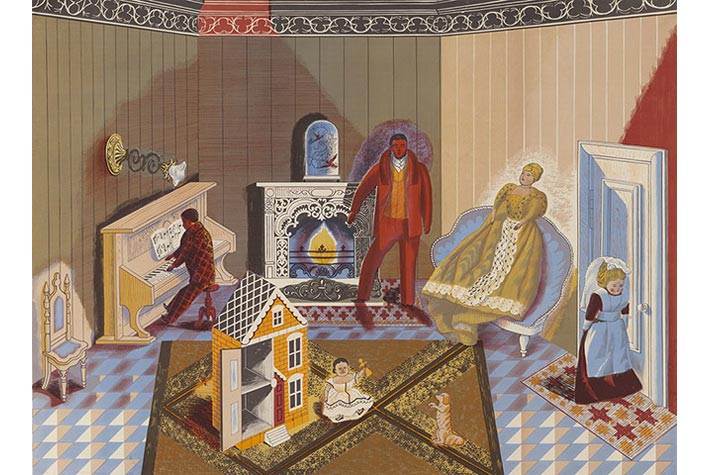 """""""The Dolls at home"""" (Những con búp bê ở nhà), Edward Bawden, 1947."""