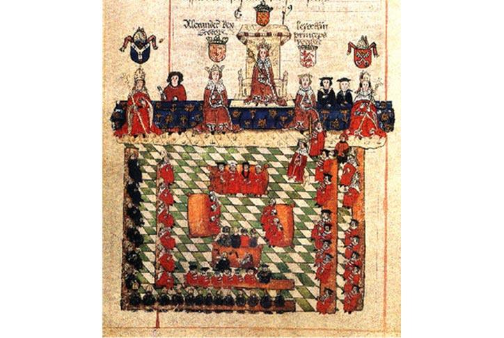 """""""Edward và nghị viện"""", năm 1300. Nói nghị viện cho oai chứ thực chất lúc này nghị viện gồm toàn thầy tu và giới quý tộc. Giám mục mặc áo đỏ bên phải, còn trưởng của các tu viện mặc áo đen bên trái, giữa là các kiểu quý tộc/lãnh chúa. Nghe đồn là Edward ít khi nghe theo lời khuyên của các thầy tu nên hay bị các ông ấy mắng là bất kính với Chúa."""