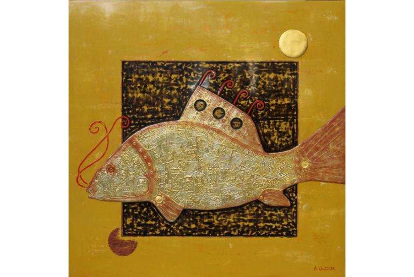 """""""Cá dưới ánh trăng 1"""" 2006, sơn mài và chất liệu tổng hợp"""
