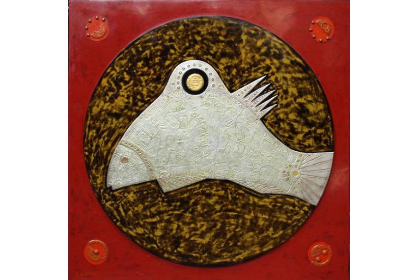 """""""Cá dưới ánh trăng 2"""" 2006, sơn mài và chất liệu tổng hợp"""