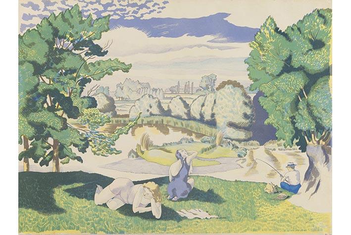 """Bức """"Landscape with Bathers"""" (Phong cảnh với người đang tắm), 1947"""