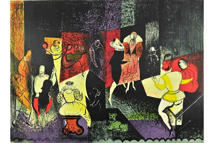 """""""Elizabethan Dance"""" (Điệu nhảy thời Nữ hoàng Elizabeth đệ Nhất), John Piper, 1953."""