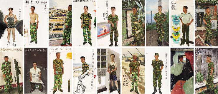 """Liu Xiaodong, """"Sketches in the Battlefield: the Eighteen Arhats"""" (Phác thảo ở chiến trường, 18 vị La Hán) sơn dầu trên canvas, 2004"""