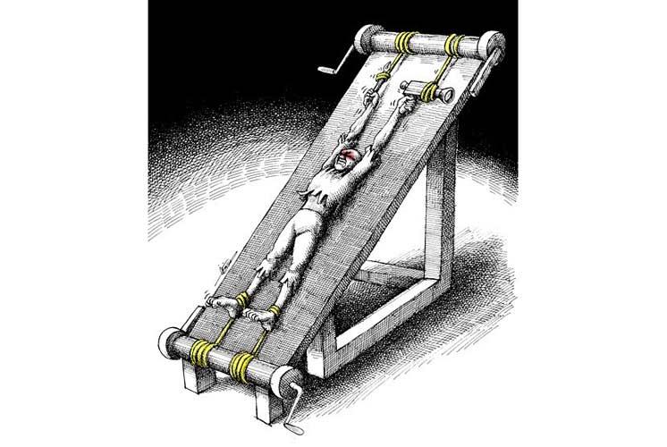 """""""Hình phạt cho đạo diễn phim Iran Jafar Panahi"""". Tranh của Mana Neyestani"""