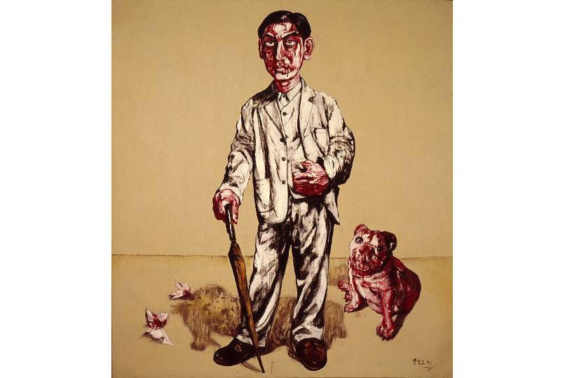 """Zeng Fanzhi, """"Internal Injury"""" (Chấn thương nội tạng), sơn dầu trên canvas, 1994"""
