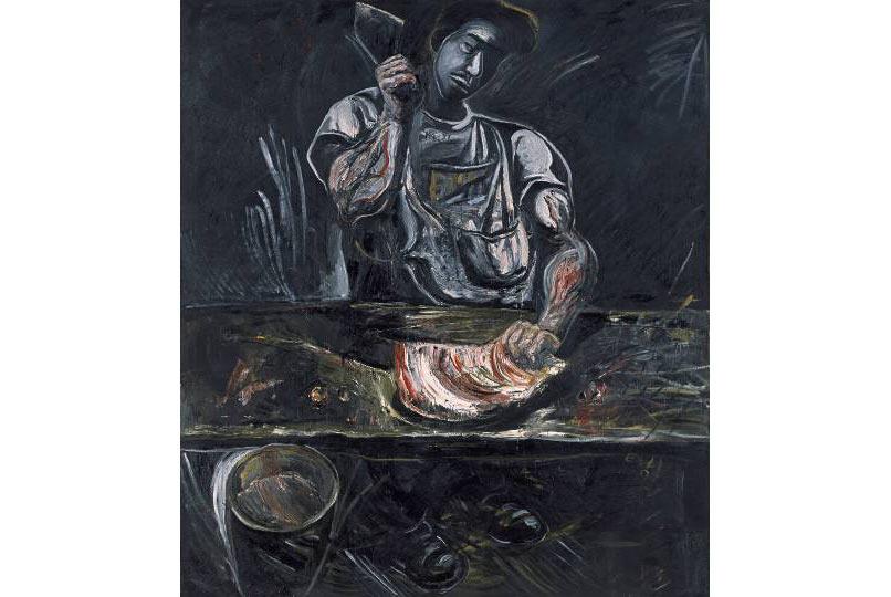 """Zhang Enli, """"Man in the Butcher Shop No. 2"""" (Người đàn ông trong cửa hàng thịt số 2), sơn dầu trên canvas, 1997"""