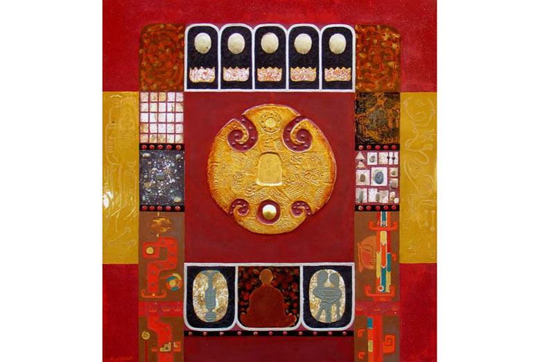 """Trịnh Quốc Chiến, """"Bàn chân Phật"""", sơn mài và chất liệu tổng hợp"""