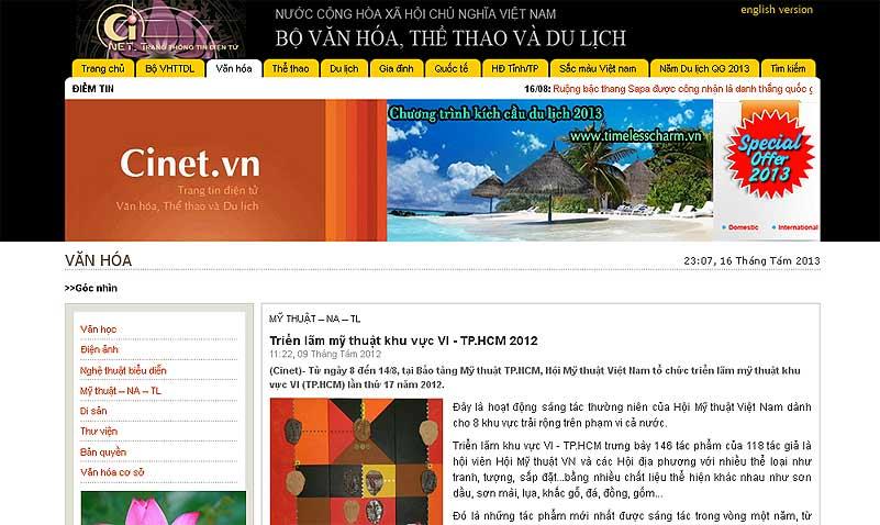 """Trang của Bộ Văn hóa với ảnh của tác phẩm """"Tình đất và lửa"""" đoạt giải A năm 2012"""