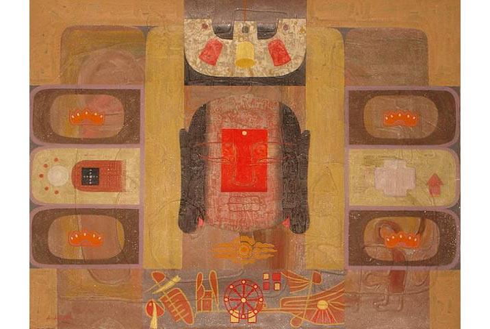 """""""Buhda sphere"""", 2008, acrylic trên giấy dó, bột màu, tempera"""