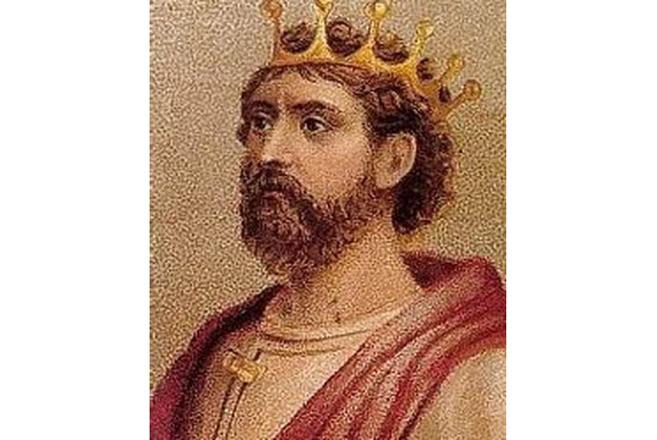 Chân dung của Edmund I, hình như là chép lại từ một bức vẽ tường cổ.