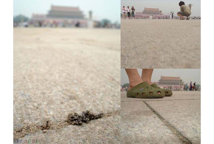 """""""Đi theo"""", 2008, Bắc Kinh: Đi theo một con kiến trên quảng trường Thiên An Môn trong 90 phút. Cùng lúc hệ thống an ninh trên quảng trường cũng dõi theo nghệ sĩ như một kẻ dở người."""