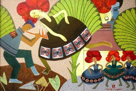 """""""Khúc nhạc tình"""" - tranh sơn dầu, kích thước 90x130, tác giả Hoàng Thị Ngọc Huyền"""