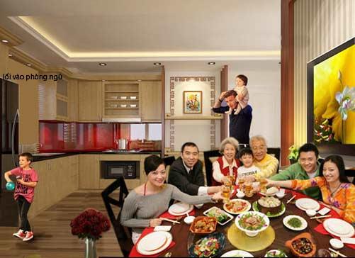 Bữa tiệc tân gia sau khi hoàn tất khâu cải tạo căn hộ. Bạn sẽ thấy không gian phòng ăn khi có vài khách thì lối đi vẫn thoáng đãng