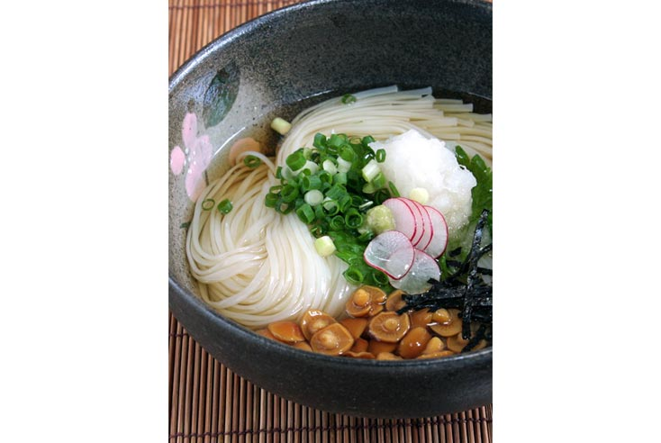 Mì udon sợi Inaniwa ăn kèm củ cải nhật cắt mỏng, của cải trắng bào, hành, nấm, và rong biển sấy cắt sợi.