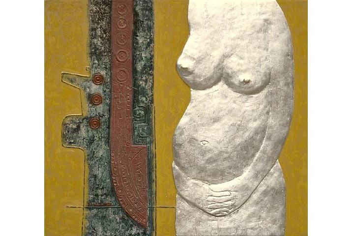 """""""Khỏa thân bạc"""", sơn mài trên gỗ, 2009"""