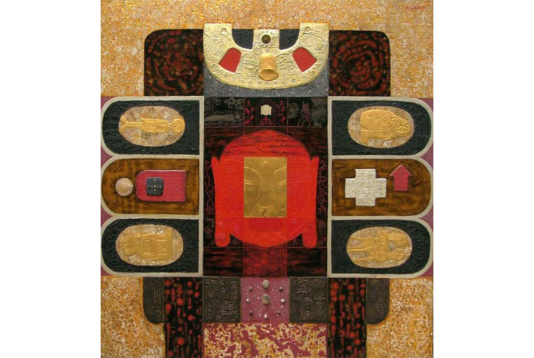 """""""Không gian của Phật"""", 2004, sơn mài và chất liệu tổng hợp"""