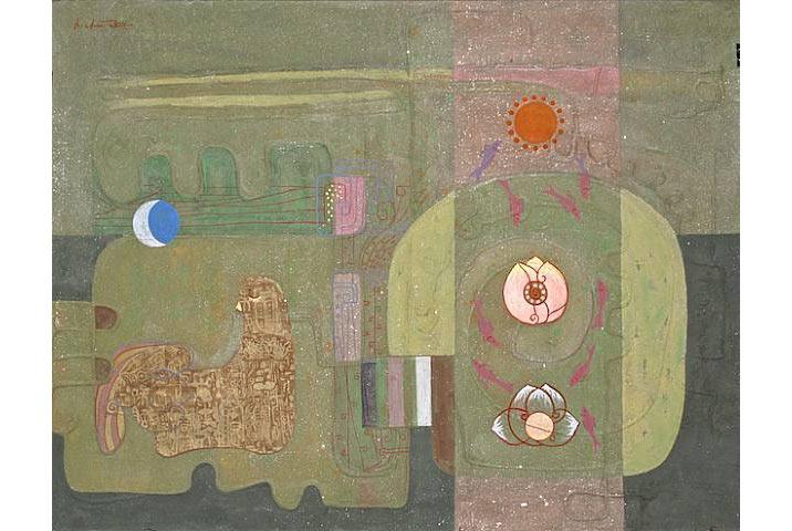 """""""Nhạc xuân"""", 2010, acrylic trên giấy dó, bột màu, tempera"""