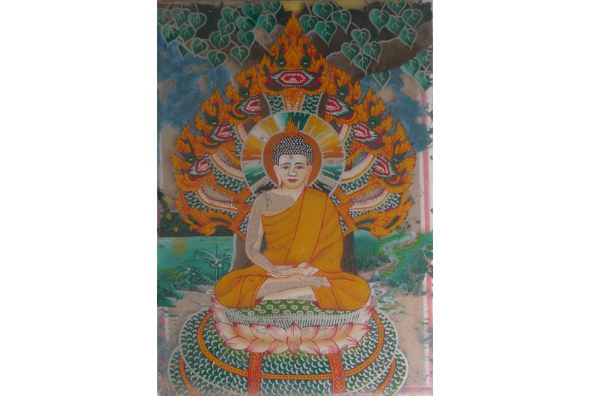 Phật tọa thiền được rắn Mucalinda che chở, Khmer.