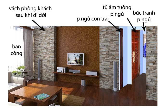 Phòng ngủ khi để cửa mở cũng chỉ thấy được bức tranh trên tường và một ít tủ âm
