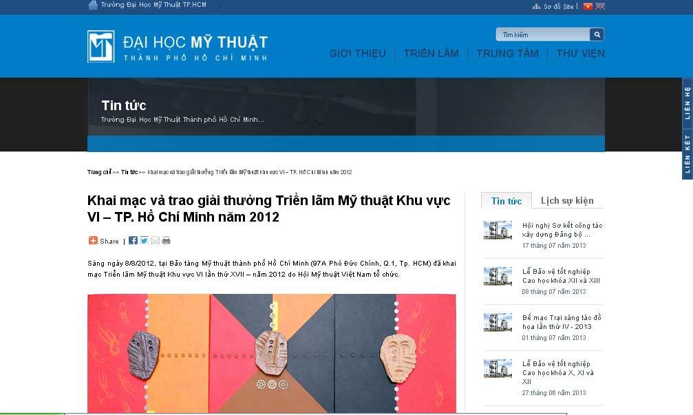 Trang của trường Đại học Mỹ thuật TPHCM đăng tin Lâm Thanh được giải 2012